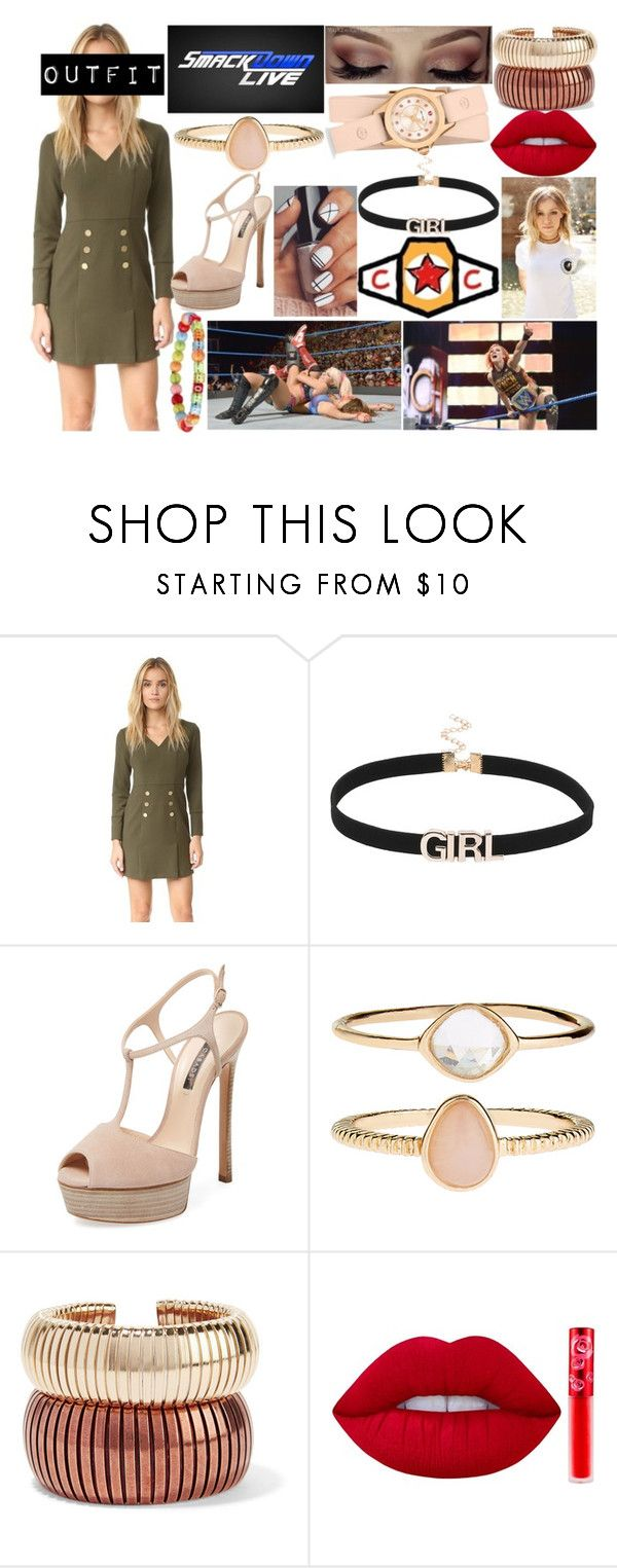 """""""Aubrey - Commentating Smackdown Live"""" by makhinegankaller14 ❤ liked on Polyvore featuring Shoshanna, Glamour Kills, WWE, Casadei, Accessorize, Rosantica, Lime Crime, Michele and wweoc"""