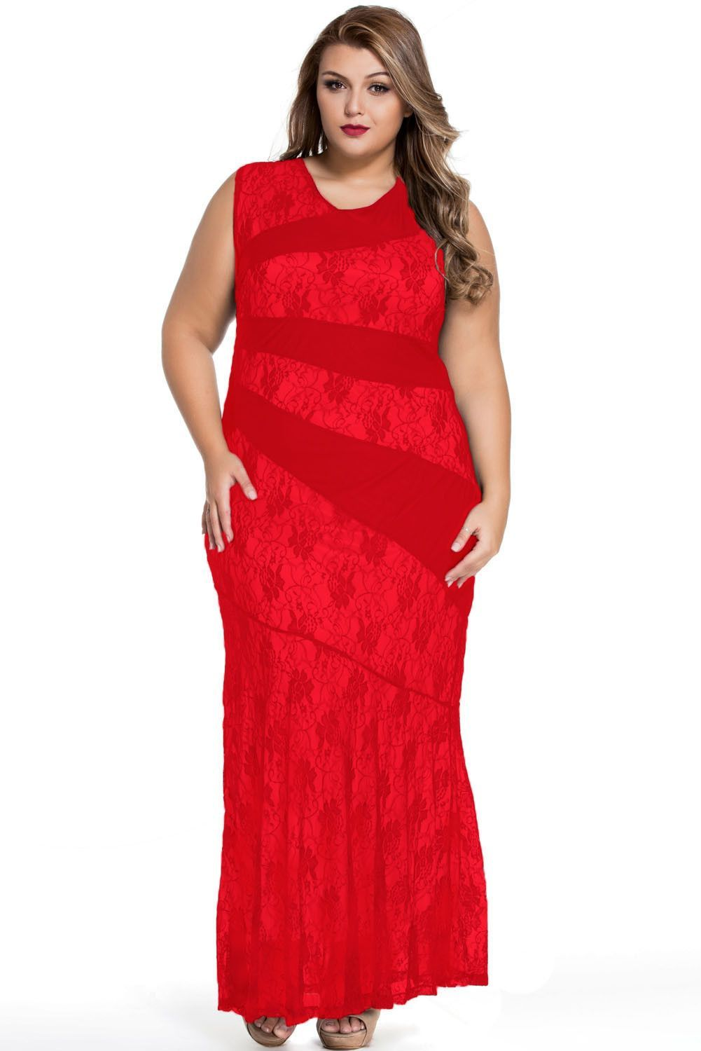 Red stylish lace splice plus size mermaid prom dress products