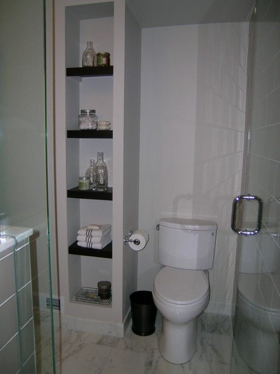 Small Bathroom Waste Bins: Built In Next To Toilet Enclosing Waste Pipe