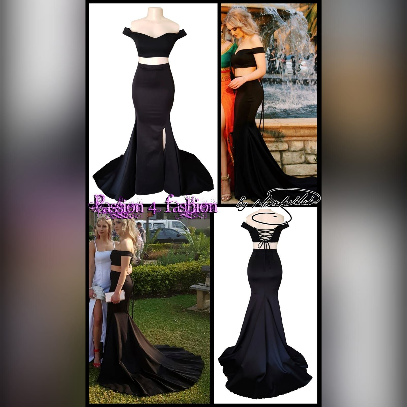 2 Piece Black Off Shoulder Prom Dress With A Crop Top Prom Dresses Dresses Formal Wear Dresses [ 1600 x 1600 Pixel ]