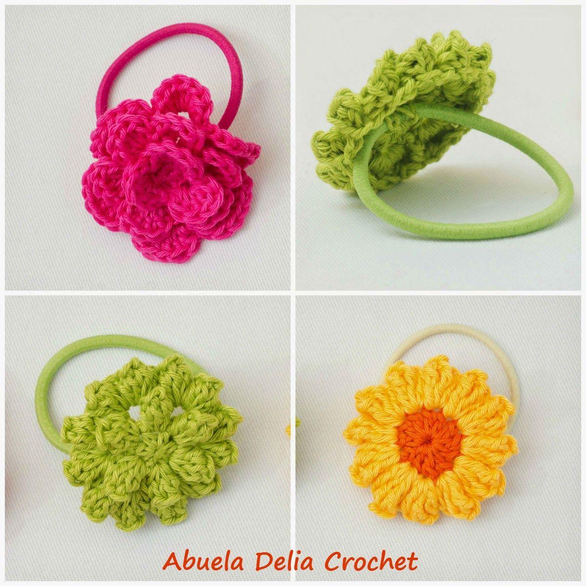 Abuela Delia Crochet: Gomitas para el cabello con Flores en Crochet ...