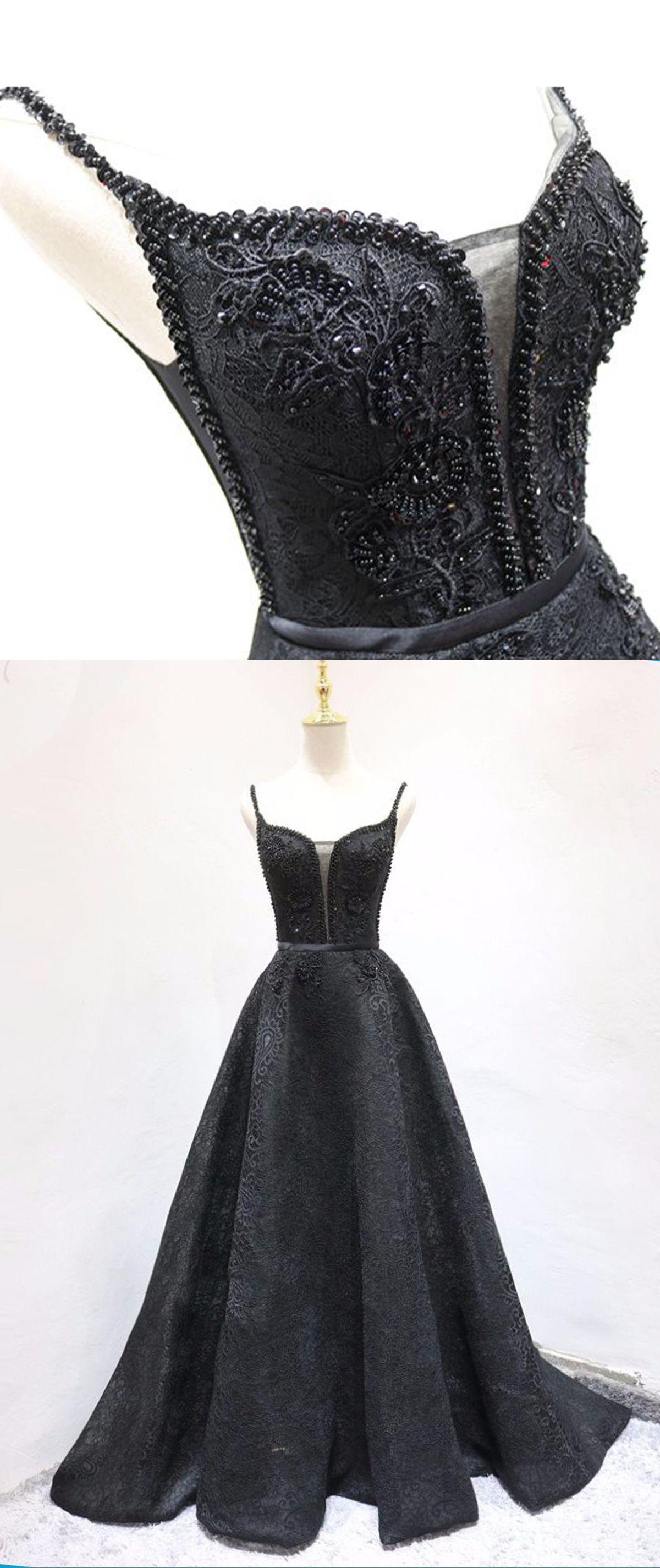 Black lace v neck spaghetti straps long aline beaded evening dress