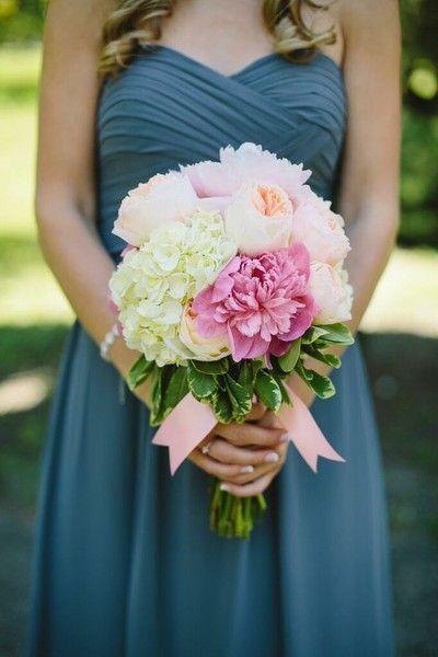 Bouquets featured peonies, roses, and hydrangeas.   Hair Stylist:Elegant Hair Designs  Bridesmaid Dresses: Bill Levkoff  Floral Designer:McNamara Florist