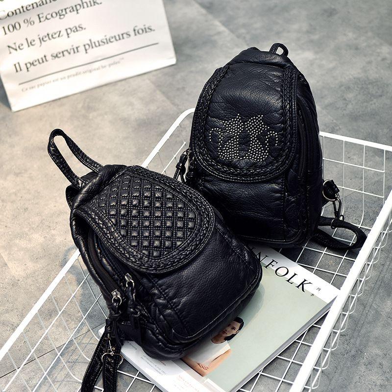 b091f319fd 2017 Women Small Backpacks Soft PU Leather Backpack Female Trendy ...