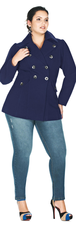 124c6f9c6 Casaco Plus Size de Lã Batida com Forro Estampado e Botões Marinho Mar  $216.90 - LunenderStore.com