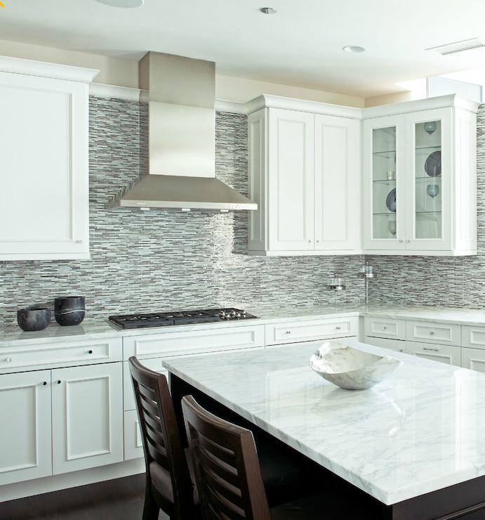 Glass Tile Backsplash White Cabinets | Glass Mosaic Linear Tiles Backsplash:  Kitchens Blue Brown Gray