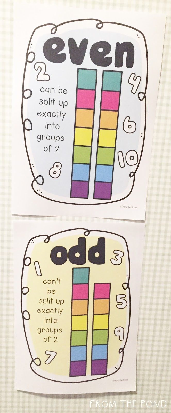 Free Odd Even Number Posters These Two Printables Are The Perfect Way To Add Some Cute Decor To Your Classroom Wa First Grade Math Fun Math 1st Grade Math