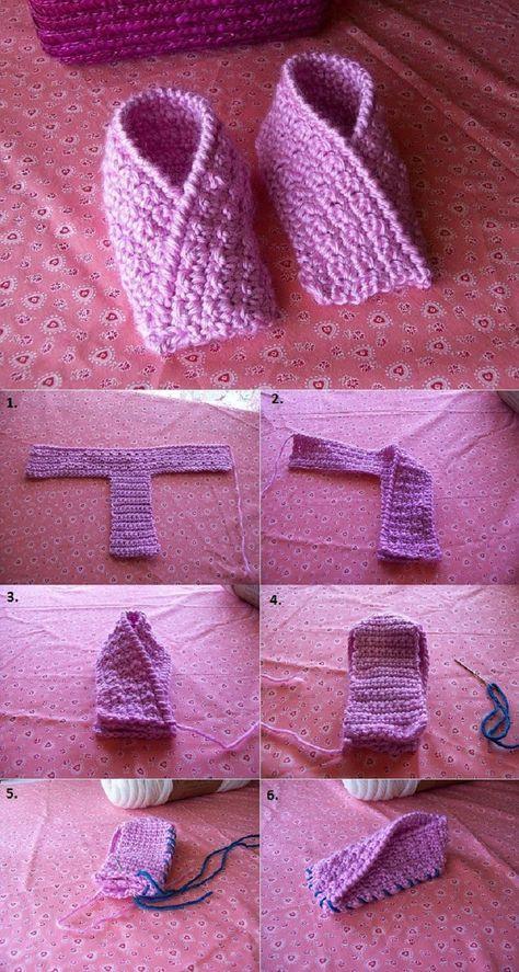 Folded Crochet Toddler Slippers - DIY | tejido | Pinterest | Bebe ...