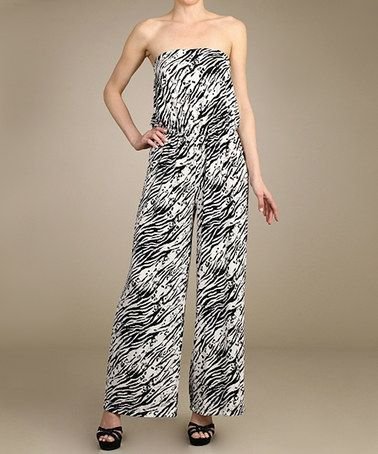 Black & White Zebra Strapless Jumpsuit by SELFEE #zulily #zulilyfinds