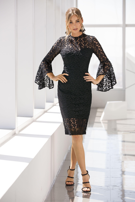 Daisy Lace Flare-sleeve Dress | Das kleine Schwarze, Kleine schwarze ...