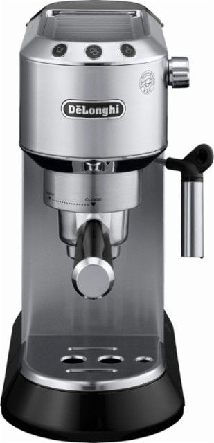 DeLonghi - Dedica 15-Bar Pump Espresso Machine with Cappuccino System - Stainless-Steel - Front_Zoom #espressomaker