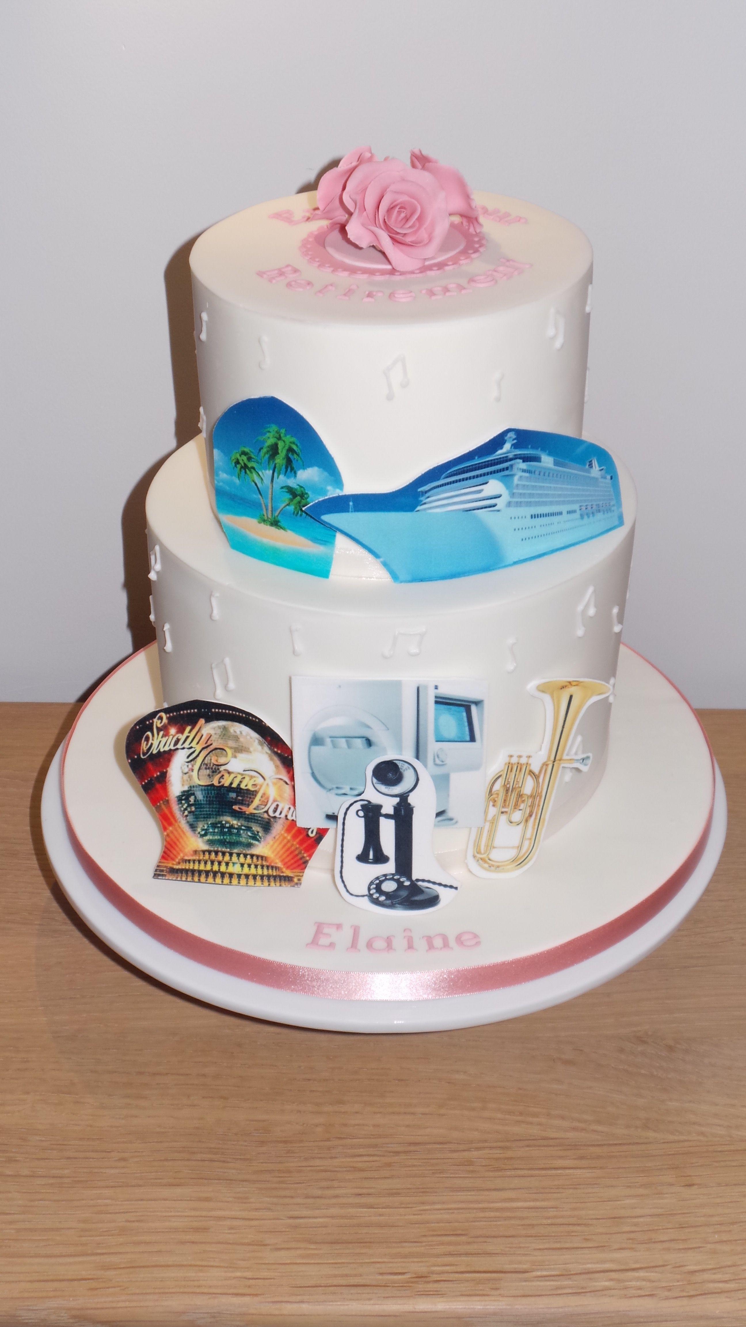 Retirement cake portraying the birthday girls past work