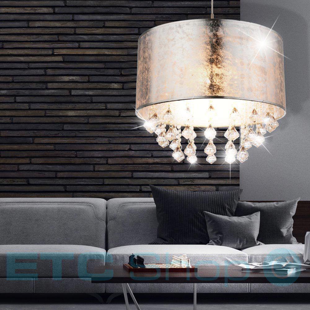 Pendel Lampe Hange Leuchte Schlafzimmer Textil Kristall Behang
