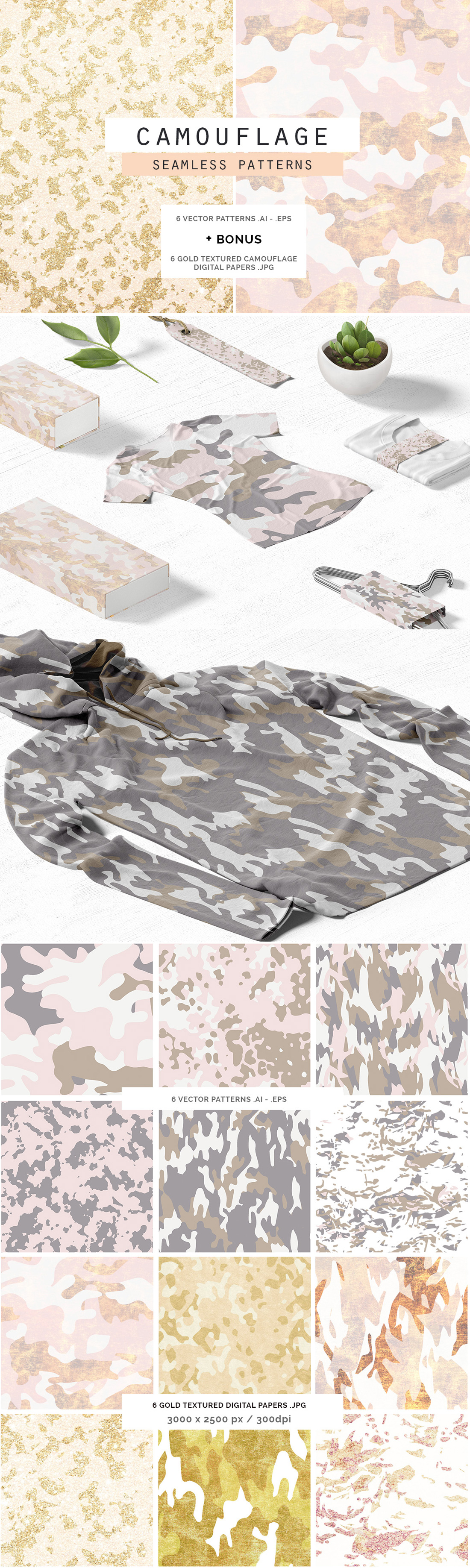 Camouflage Glam Patterns + Papers | Vector pattern, Graphic design ...