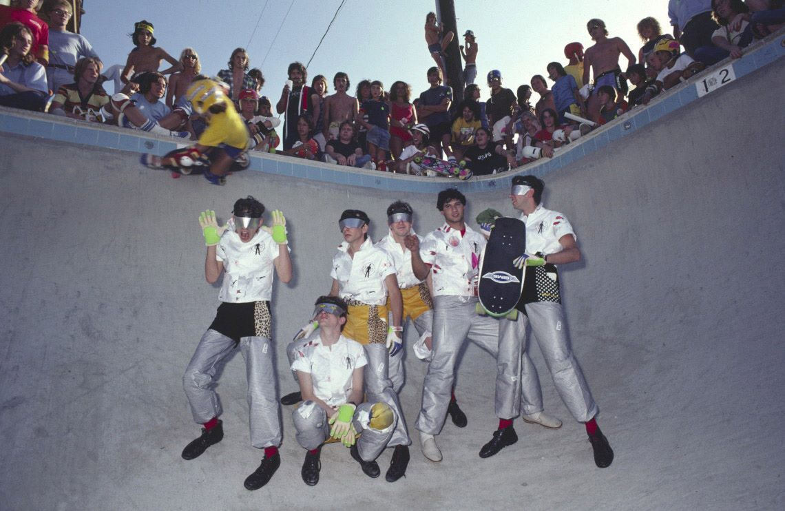 """""""So geeked I found this picture. I remember this from an issue of Skateboarder magazine back in the d.a.y. It's Devo in a pool at a skatepark out in Pomona. Some young shredder is ripping tiles over their heads. When I was 14 years old, this photo represented everything I loved. Epic!"""" Holy. Crap."""
