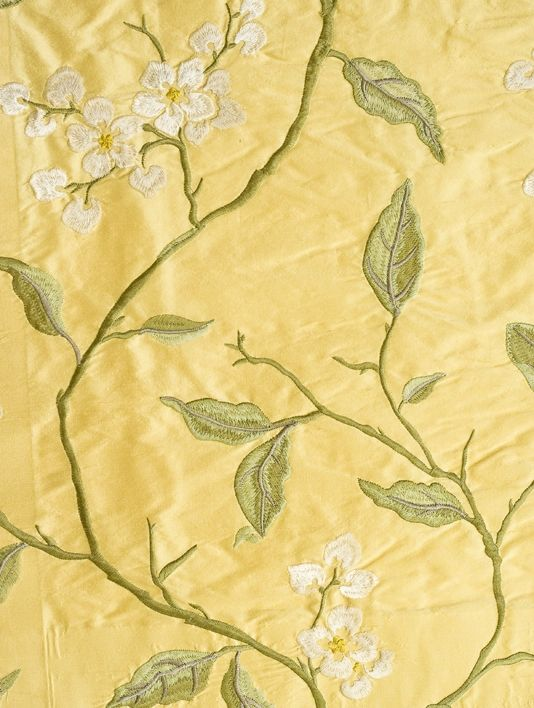 Apple Blossom Silk Curtain Fabric Mute yellow silk fabric with ...
