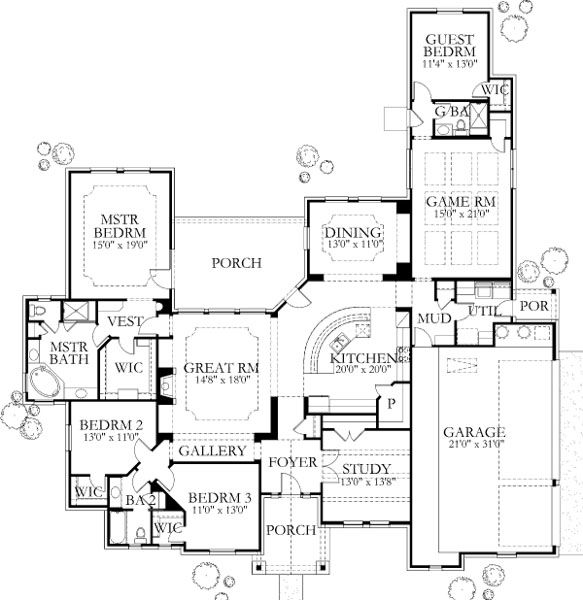 Contemporary Style House Plan 4 Beds 3 Baths 3137 Sq Ft Plan 80 186 Accessible House Plans House Plans Wheelchair House Plans