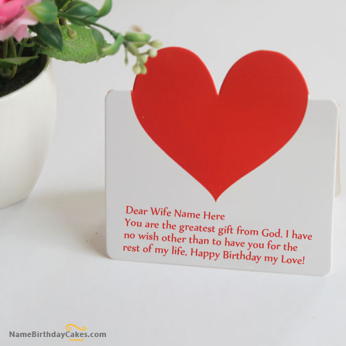 Write Name On Heart Birthday Card For Wife