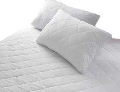 Comprar Protector de colchón acolchado sábana bajera ajustable para cama, algodón poliéster, blanco, matrimonio grande