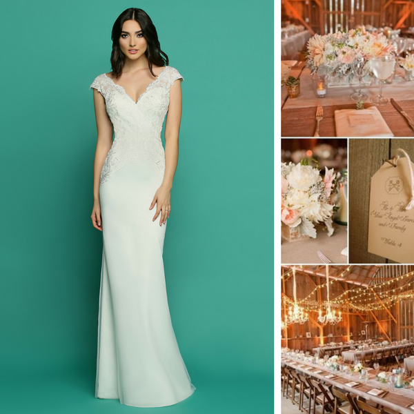 This lovely dress combines a demure V-neck front bodice with an off the  shoulder 8307b43a8