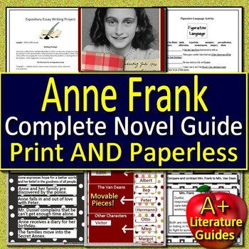 anne frank the diary of a young girl novel study printable and rh pinterest com Anne Frank Study Guide Worksheet Anne Frank Quizlet