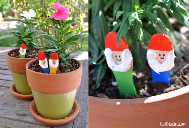 garden gnome craft sticks diy - Garden Ideas For Kids To Make