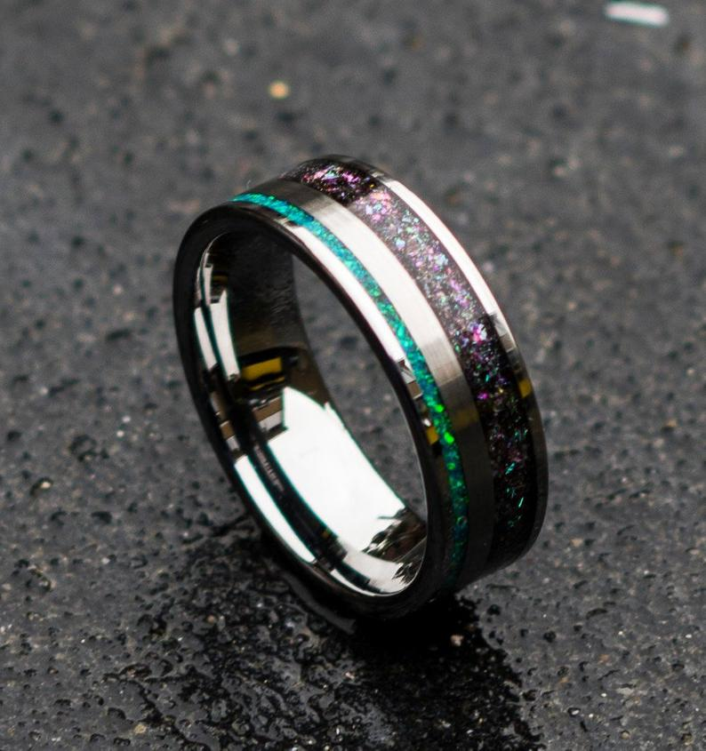 Tungsten ring for men. mens opal ring. Galaxy opal. male