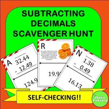 Subtracting Decimals Scavenger Hunt Activity Worksheets, Students