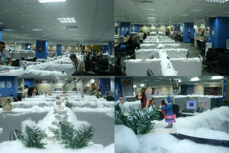 Just When We Think Ve Seen It All A Cubicle Farm Christmas Village Office Decorationscubicle