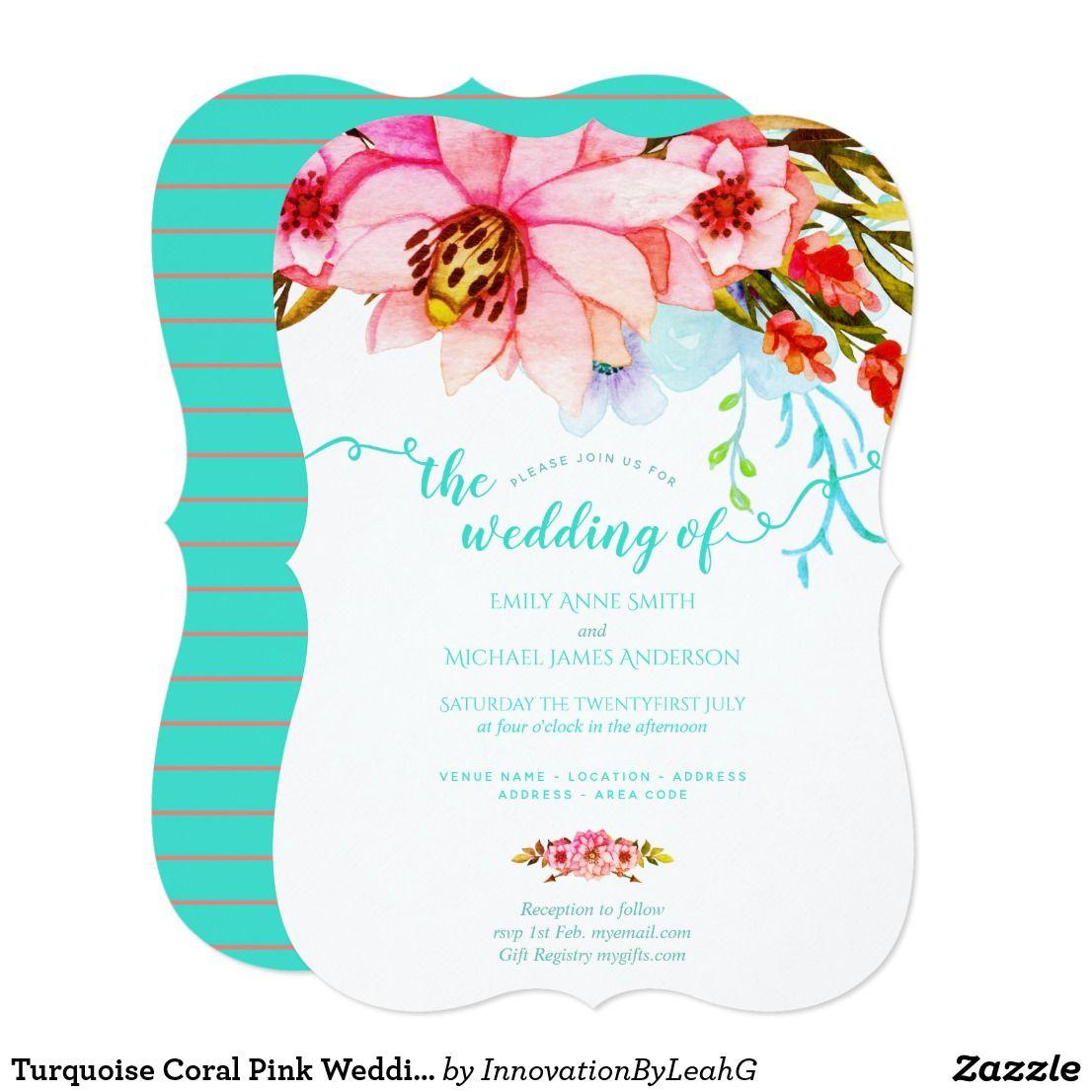 Turquoise Coral Pink Wedding Invitations Flowers | Zazzle.com #turquoisecoralweddings