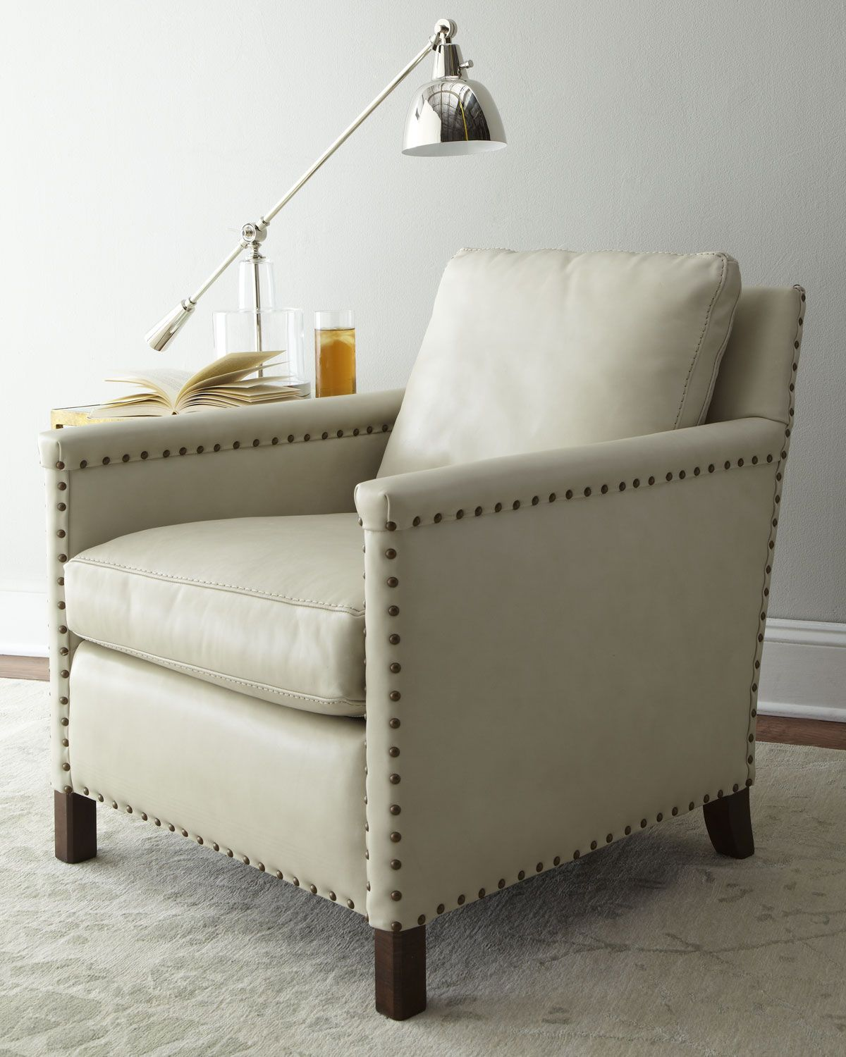 Lee Industries white leather armchair with nail head trim