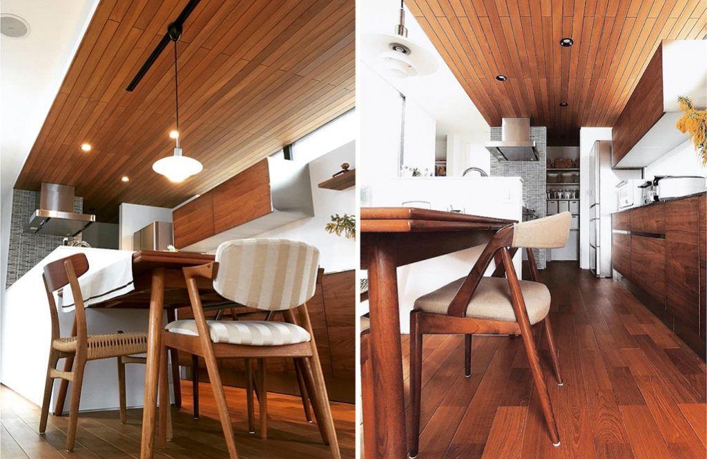 2階にあるキッチンとダイニングは 床だけでなく天井までチーク材