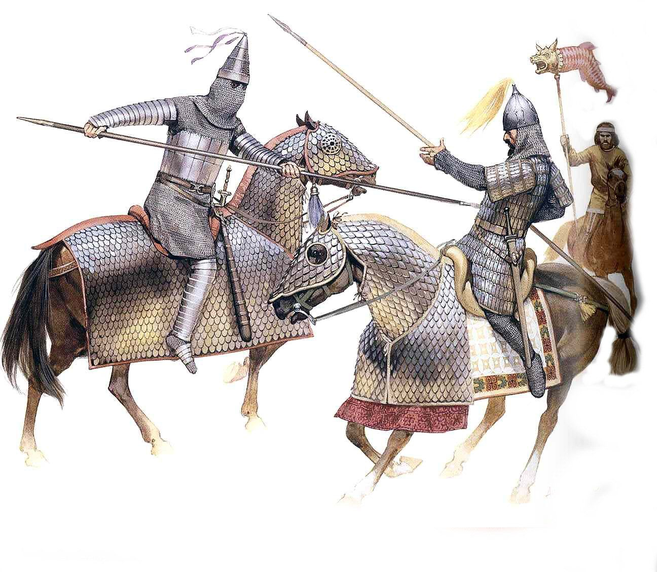 Duel of parthian and armenian cataphracts - Angus Mc Bride