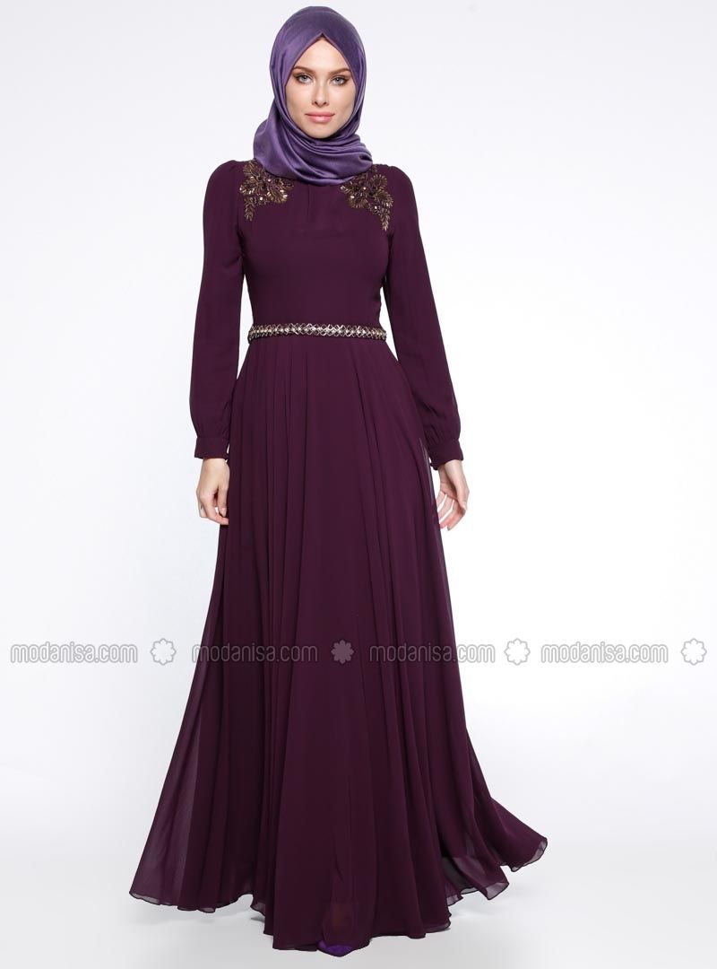 790464d56f Purple - Fully Lined - Crew neck - Muslim Evening Dress - Puane ...