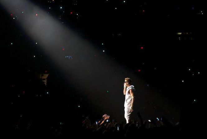 Justin at the concert i went to, i didn't take this pic by the way :)