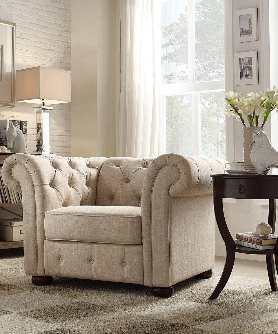 Love this Beige Linen Kensington Chesterfield Armchair by HomeBelle on #zulily! #zulilyfinds