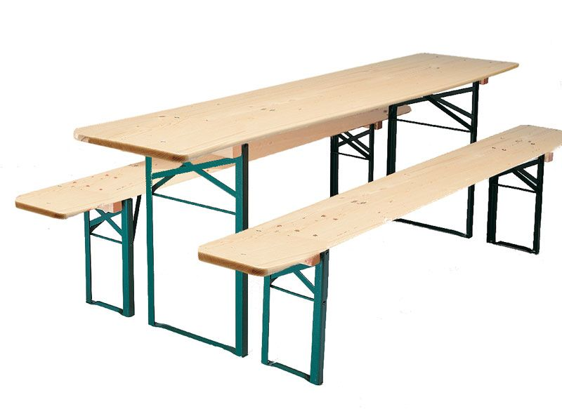 The classic German beer garden table shown in the natural wood ...