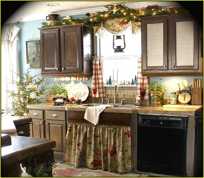 French Country Kitchen Accessories: Decorating Above Kitchen Cabinets French Country
