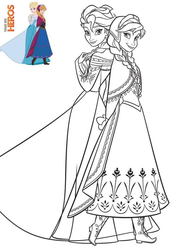 Coloriage avec modèle couleur | Coloriage reine des neiges, Coloriage elsa et Coloriage princesse