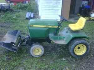 eBay John Deere 316 Garden Tractor W/Loader, plow, and deck