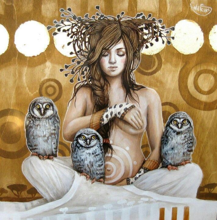 Spiral pregnant goddess with owls