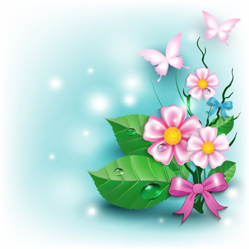 Spring Flower With Green Background Vector 02 Free Download: Flowers And Butterflies With Bow Background Vector 02