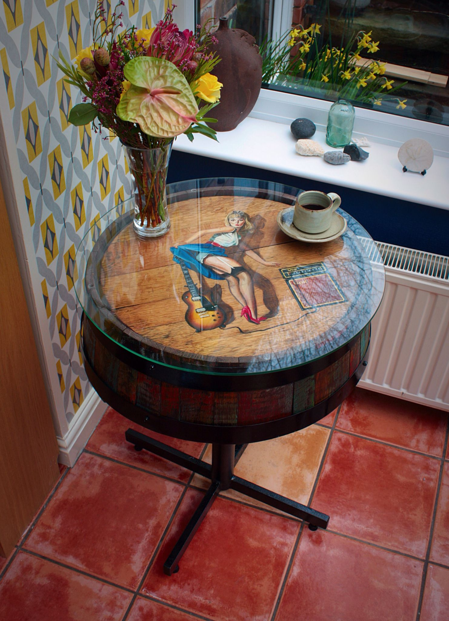 For sale 390 refurbished hand painted and finished side table for sale 390 refurbished hand painted and finished side tablecoffee table a beautiful solid oak jack daniels whiskey barrel table geotapseo Images