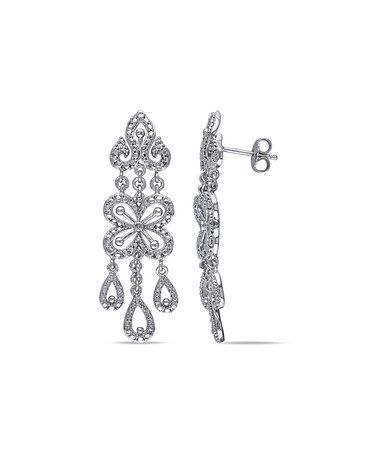 Diamond & Sterling Silver Chandelier Drop Earrings #zulily #zulilyfinds