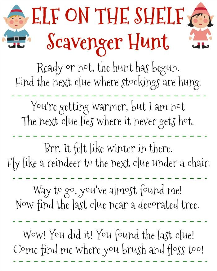 Printable Elf On The Shelf Scavenger Hunt  Elves Free Printable