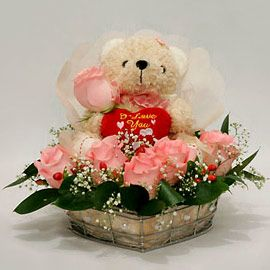 Happy Moment - Basket of 12 Pink Roses with 6 Inches Teddy Bear ...
