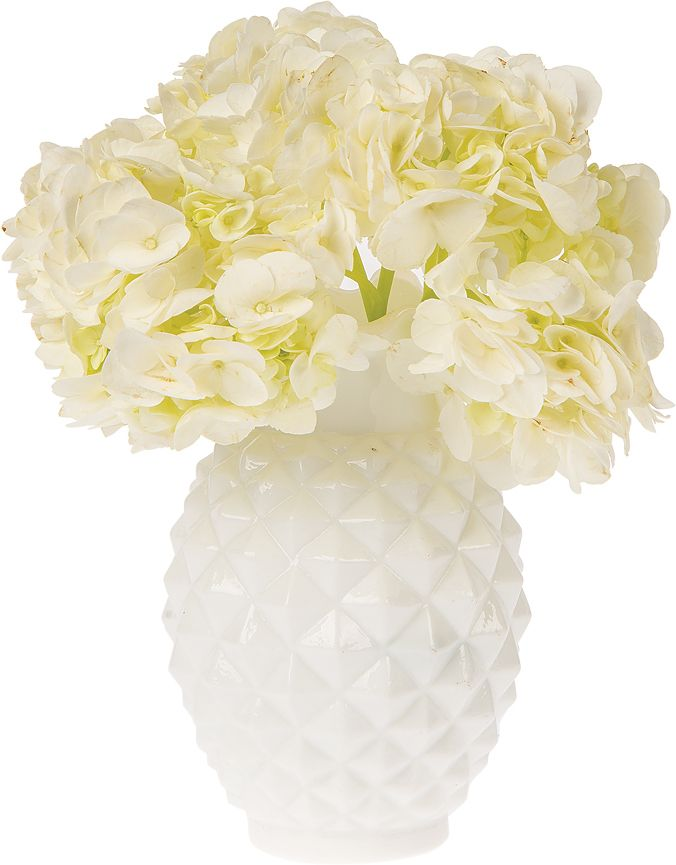 Vintage Milk Glass Vase 6 Inch Ruffled Pineapple Design White