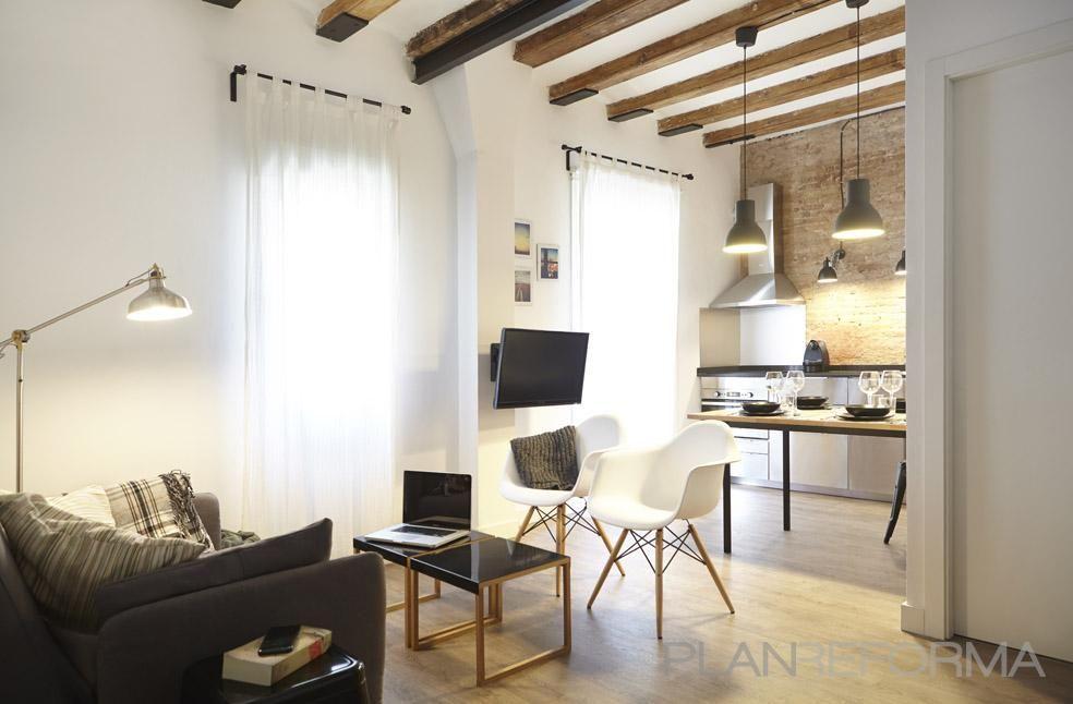 Comedor, cocina, loft estilo contemporaneo color marron, marron ...