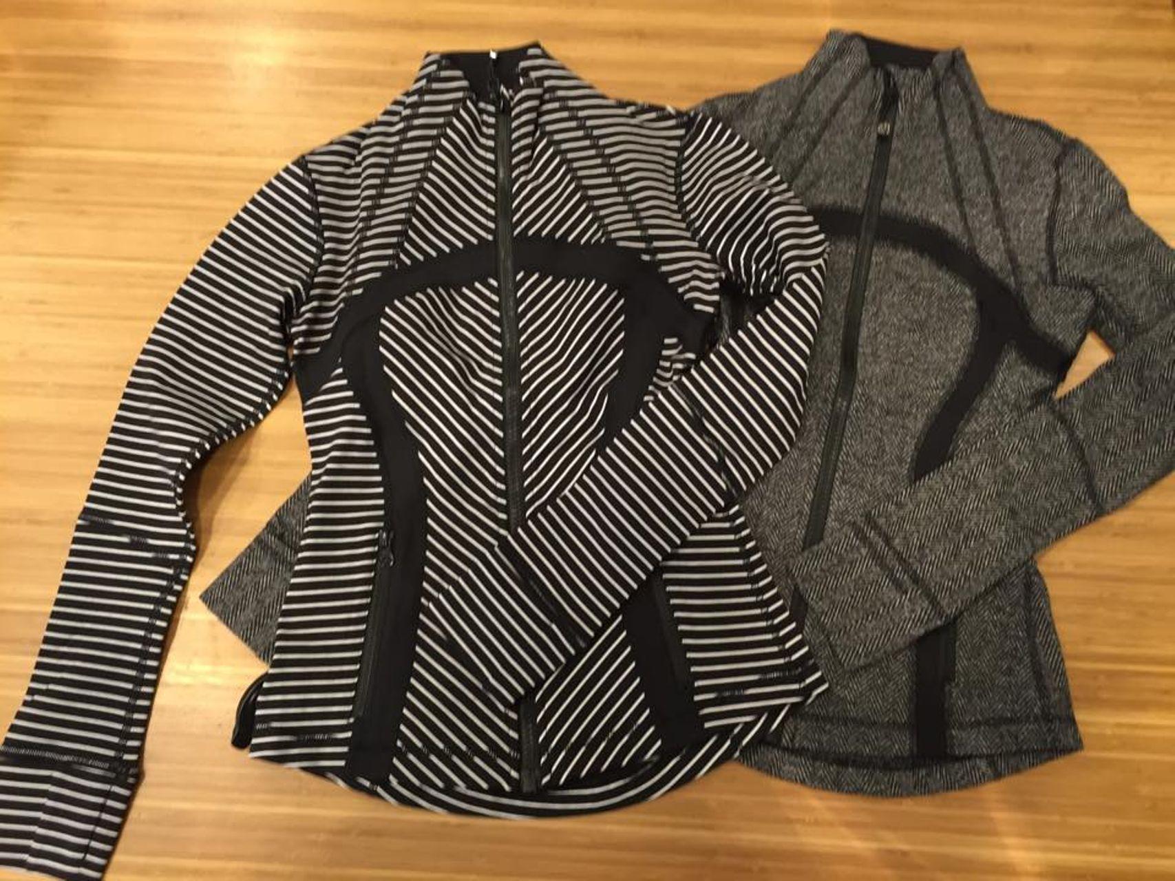 Lululemon Define Jacket Parallel Stripe Black White
