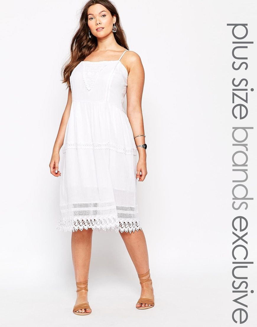 Image 1 of Alice & You Broderie Midi Dress | Plus size ...